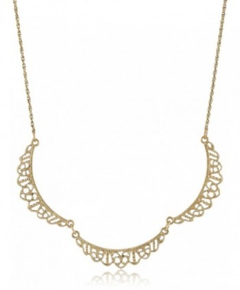 "Downton Abbey Gold-Tone Petite Belle Epoch Filigree Scallop Collar Pendant Necklace- 16"" - C811FP3XZND"