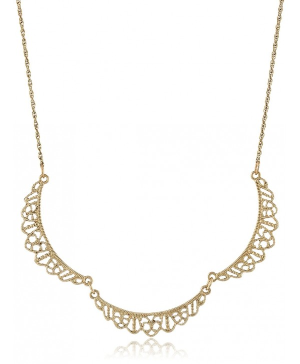 """Downton Abbey Gold-Tone Petite Belle Epoch Filigree Scallop Collar Pendant Necklace- 16"""" - C811FP3XZND"""