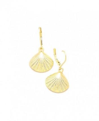 Golden Textured Half Shell Leverback Drop Earrings - CD12BZRLCNR