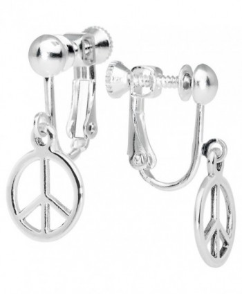 Peace Sign Clip Earrings - C0118Q6TFKD