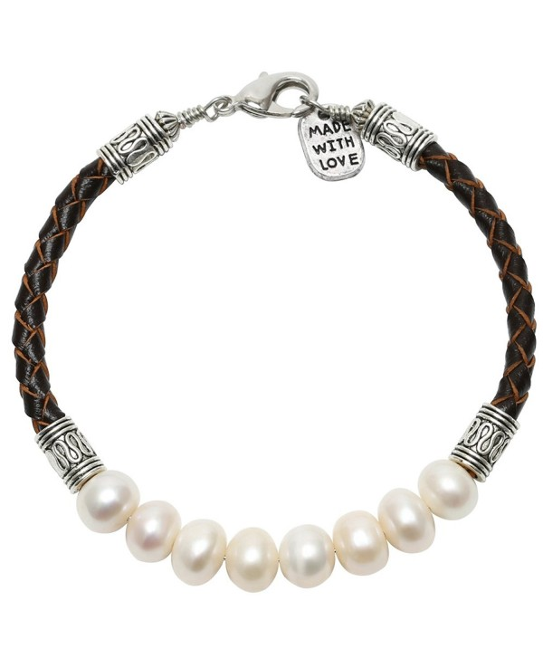 Aobei Pearl White Cultured Freshwater Pearls Bracelet Bangles with Braided Leather Cord for Women - Brown - CR17XXGDQ92