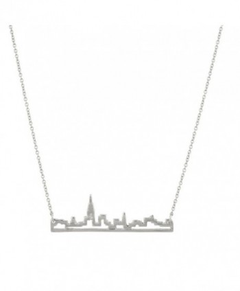 Lux Accessories New York City Skyline Empire State Outline NYC Pendant Necklace. - CI11WJLGPTZ