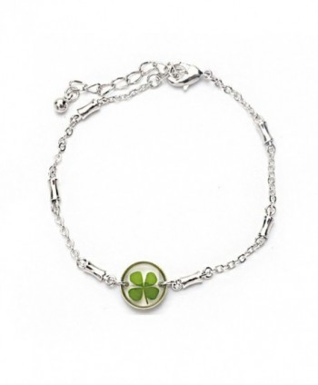 Stainless Steel Real Irish Four Leaf Clover Good Luck Symbol Clear Round Charm Bracelet 7''-8.5'' - C611WND4799