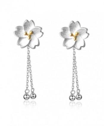Helen de Lete Sakura Flower Sterling Silver Stud Earrings - CF12N1UY1FE