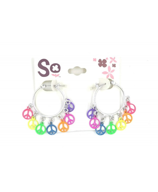New Pair of Colorful Rainbow Peace Sign Earrings - C812N42FNDY
