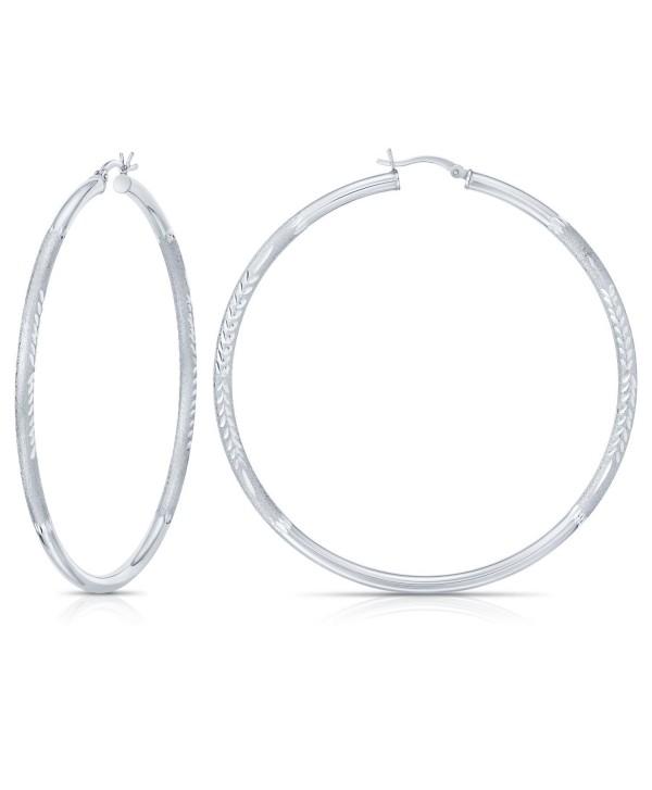Sterling Silver Diamond-Cut Hoop Earrings (2.7 inches) - CR12M1N2409