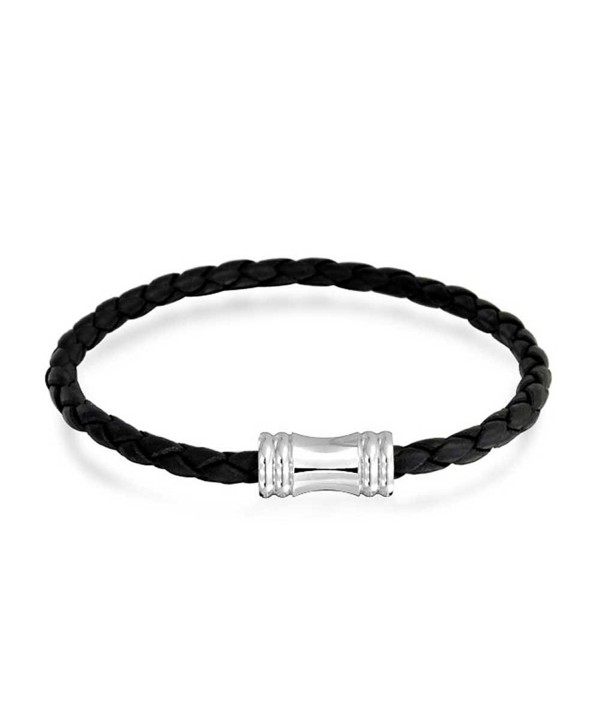 Bling Jewelry 4mm Black Braided Leather Bracelet Magnetic Clasp Steel - C511HEP7V8P