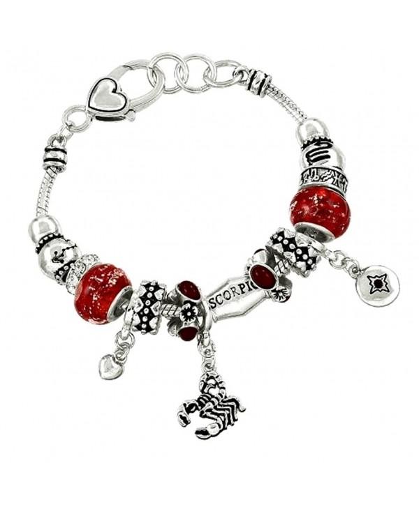 DianaL Boutique Zodiac Sign Scorpio Scorpion Horoscope Bracelet Silver Tone - CF11STT4WWN