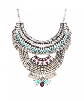 Antique Alloy Chunky Bib Statement Women Bling Faux Crystal Choker Necklace - Silver - CQ1202HXKCH