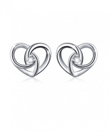 "925 Sterling Silver Jewelry ""I Love You To The Moon and Back"" Love Heart Stud Earrings - CG185UZ7ALE"