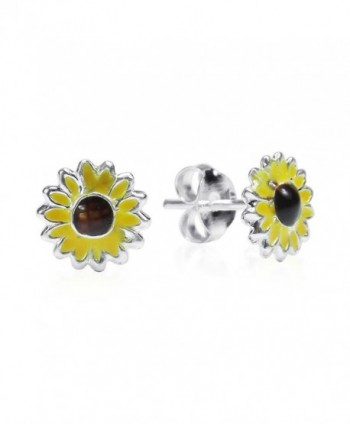 Petite Yellow Enamel Sunflower .925 Sterling Silver Stud Earrings - CW11OK5ZS9L
