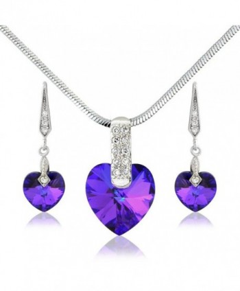 Deep Purple Violet Swarovski Elements Heart Necklace and Earrings set - Silver Tone - For Her - CA11K2YSBXJ