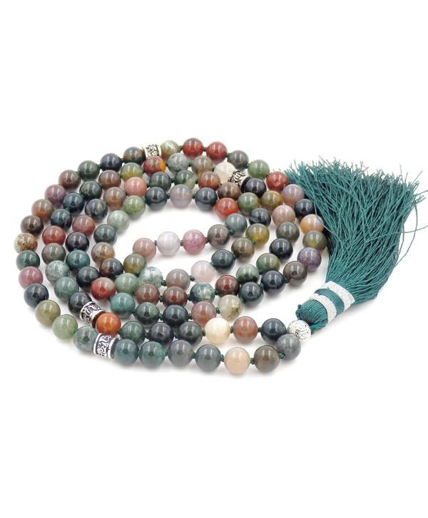 Gemstone Mala Beads Necklace- Mala Bracelet- Buddha necklace- Hand Knotted Mala - Indian Agate - CP184AZNK03