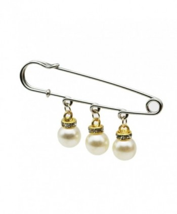Ababalaya (Pack of 12) Large Safety Pin Unique Punk Chic Brooch Style Pin Siver with Pearl - C512NSWJEYM