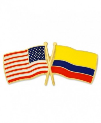 PinMart's USA and Colombia Crossed Friendship Flag Enamel Lapel Pin - CT119PEOZN7