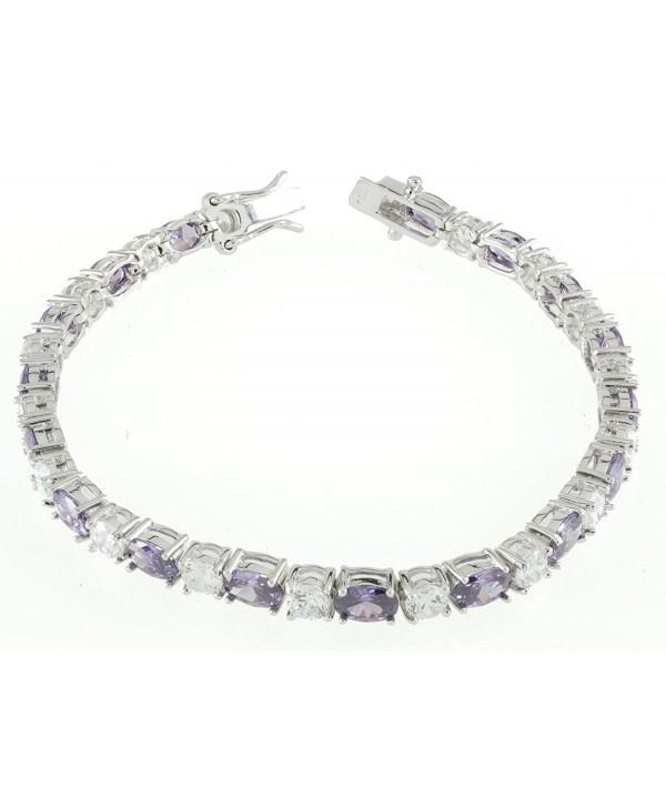 Women's .925 Sterling Silver Tennis Bracelet w. White Round CZ & Oval Purple CZ - CI11FDK3EYX