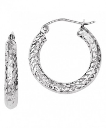 Sterling Silver Dia-Cut 3x20mm Hoop Earrings- Best Quality Free Gift Box - C811DCVQ3TX