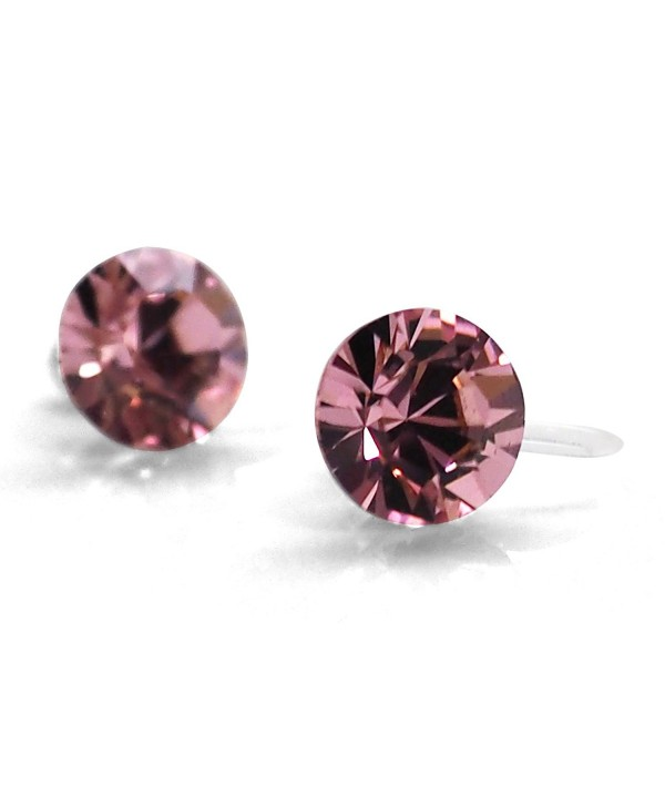 Light Pink Vintage Rose Swarovski Crystal Rhinestone Invisible Clip On Stud Earrings Miyabi Grace - CG186L3ZN5X