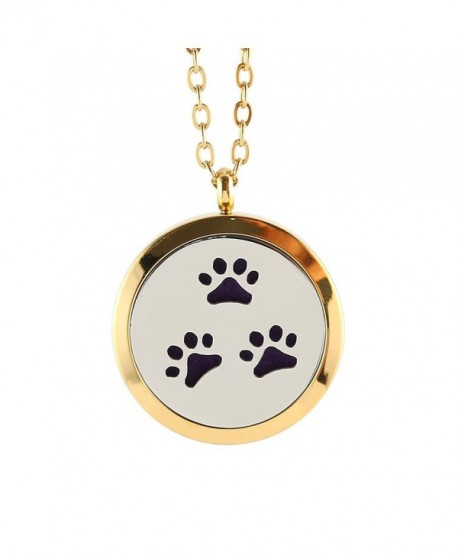 Dog Paw Print Essential Oil Diffuser Necklace Locket Pendant Gold Locket Opens Necklace - Purple - CR12J98DBSN