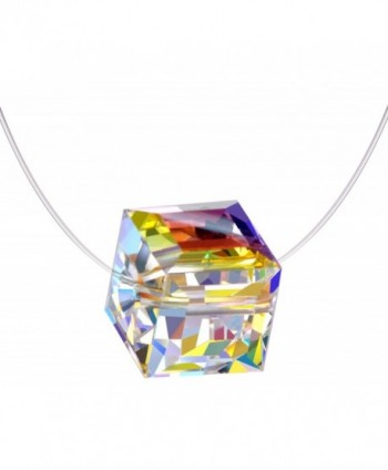 Infinite U Sterling Silver Color Changing Crystal Cube Birthstone Choker Invisible Fish Line Necklace - C3185W5ZHNX