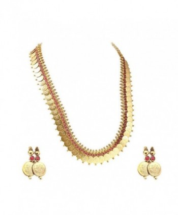 YouBella Jewellery Traditional Necklace Earrings - Red - C6183M2NE73