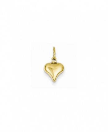 14k Yellow Gold Polished Small Mini Puffed 3-D Heart Charm - C2126Z7VOAR