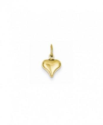 14k Yellow Gold Polished Small Mini Puffed 3-D Heart Charm - C2126Z7VOAR