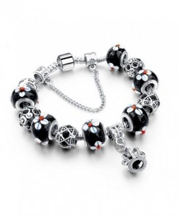 Charm Central Crown Charm Bracelet - Crown with Cross Charm Bracelet / Gift Box / Jewelry Box - Black - C612HAKDAEP