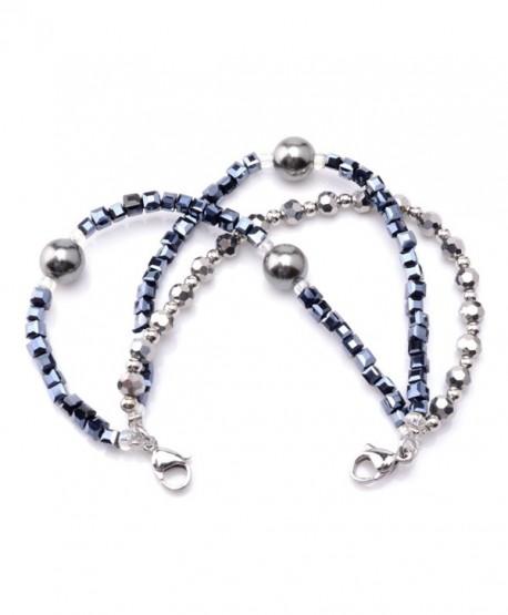 Medical ID Triple Navy/Silver Strand Beaded Interchangeable Bracelet - CH182WNKU26