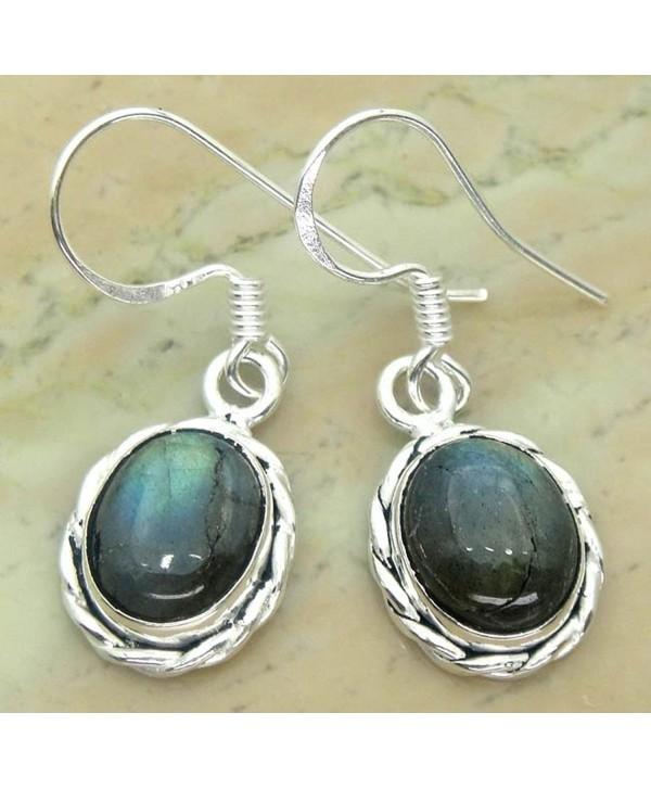 6.50ctw Genuine Labradorite .925 Sterling Silver Overlay Handmade Fashion Earring Jewelry - CW127G4F67B
