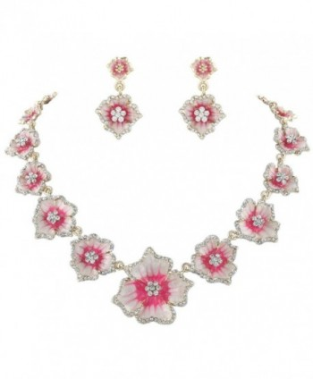EVER FAITH Women's Austrian Crystal Enamel Hibiscus Necklace Earrings Set Gold-Tone - Pink - C111PPH2YBD