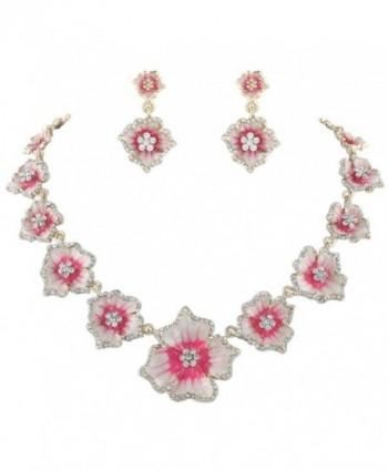 EVER FAITH Women's Austrian Crystal Enamel Hibiscus Necklace Earrings Set Gold-Tone - Pink - C111PPH2YBD