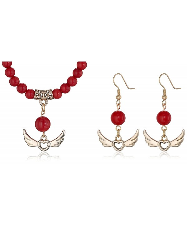 """18"""" Round 6mm Red Simulated Coral Gold Heart and Angel Wings Necklace and Earrings Set - CN11KMT33PP"""