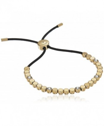 Fossil Womens Vintage Iconic Gold Bead and Crystal Accent Adjustable Bracelet - Gold tone - C71860SN06G