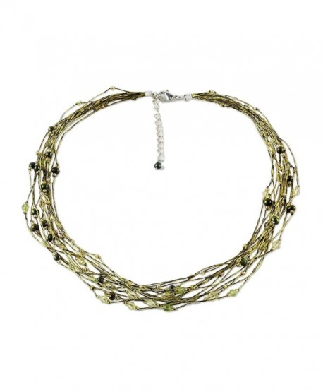 """NOVICA Cultured Freshwater Pearl and Peridot Multi Strand Necklace- 19""""- 'River of Green' - CK111CHVZ79"""