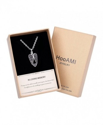 HooAMI Cremation Jewlery Heart Angel Wings Pendant Memorial Urn Necklace - Luxury Gift Box - CH185443SIY