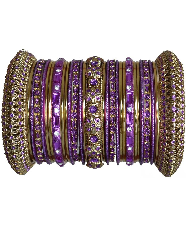 Indian Bridal Collection! Panache' Purple Bangles Set in Gold Tone By BangleEmporium Small Size 2.6 - C0116TVGHWV