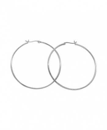 Large Sterling Silver Round Hoop Earrings w/ Click-Down Clasp- (2mm Tube) - CR12GNOBXYP