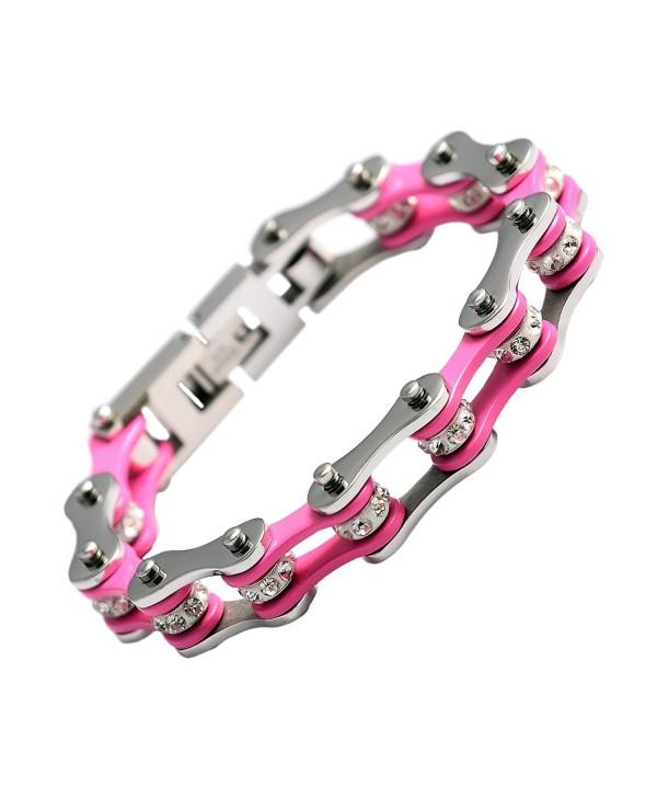 URs Women 316L Stainless Steel Bike Chain Wrist Bracelet Link Silver Pink Two Tone High Polished - CB11AWAPLX9