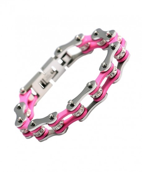 URs Women 316L Stainless Steel Bike Chain Wrist Bracelet Link Silver Pink Two Tone High Polished - CB11AWAPLX9