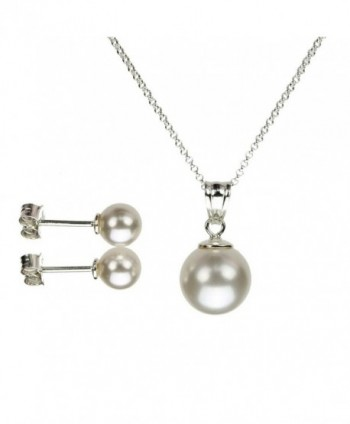 Sterling Silver Chain Necklace Earrings Simulated Pearl Pendant Made with Swarovski Crystals - C111NXIGMRN