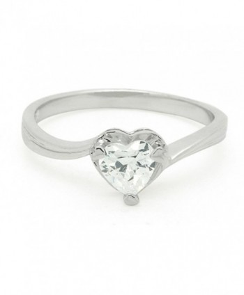 Sterling Silver CZ Heart 1 Stones Ring Band - CK11E77PJLT