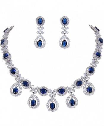 EVER FAITH Silver-Tone Cubic Zirconia Elegant Flower Leaves Water Drop Necklace Earrings Set - Navy Blue - CY12D7L70X5