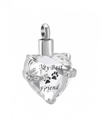 Beautiful Crystal Heart Stainless Steel Cremation Pendant Ashes Keepsake Memorial Urn Necklace - Clear and Black - CF1840HUT48
