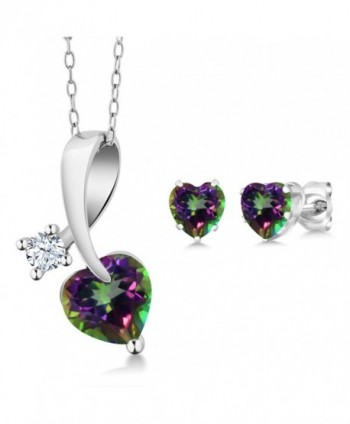 2.61 Ct Heart Shape Green Mystic Topaz 925 Sterling Silver Pendant Earrings Set with 18 Inch Silver Chain - CY11UGVBYY1