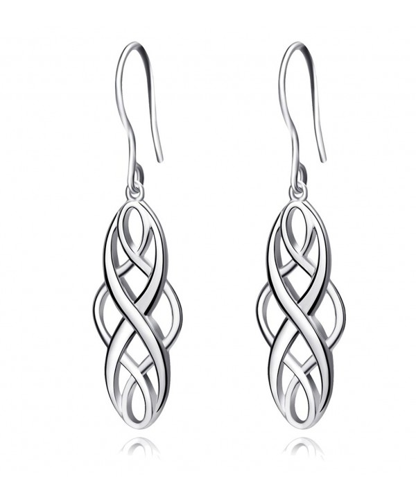 S925 Silver Earrings Solid Sterling Silver Polished Good Luck Irish Celtic Knot Vintage Dangles - Platinum - CI182SIH7HN