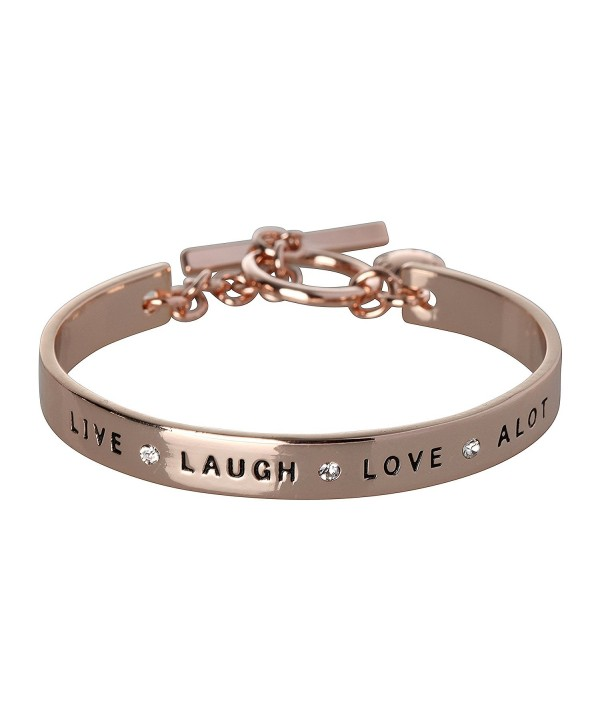 BCBG Generation Live Laugh Love Cuff Bracelet - Rose Gold-Crystal - CD182W949RM