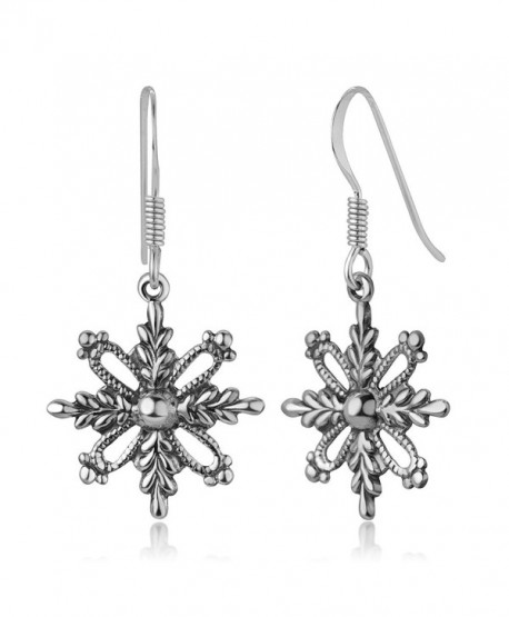 "925 Oxidized Sterling Silver Filigree Snowflake Christmas Antique Dangle Hook Earrings 1.3"" - CN17AZE4T68"