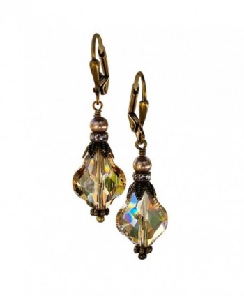 HisJewelsCreations Golden Shadow Baroque Vintage Inspired Earrings with Crystal from Swarovski - CX183GTRU68