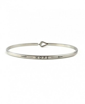 Hope Inspirational Hook Bangle Bracelet - Rhodium - CC185GU9T2G